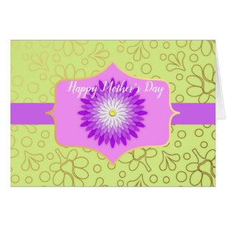 Violet and Green Floral Mother's Day Card