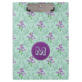 Violet and Mint Green Retro Floral Clipboard