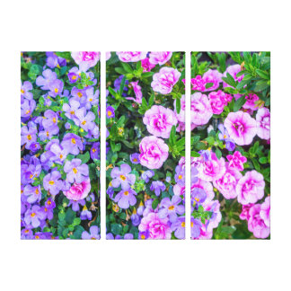 Violet and pink flowers, three wall canvas