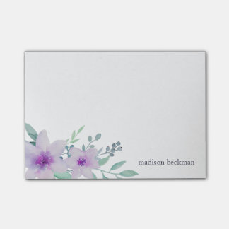 Violet and Sage Watercolor Floral Post-it® Notes