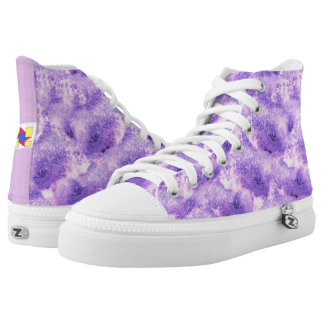 Violet and white high tops