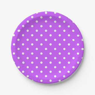 Violet and white polka dot modern 7 inch paper plate