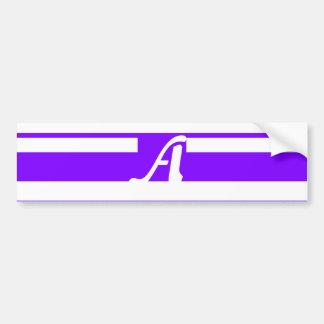 Violet and White Random Stripes Monogram Bumper Stickers