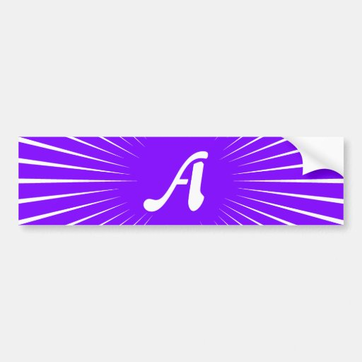 Violet and White Sunrays Monogram Bumper Stickers