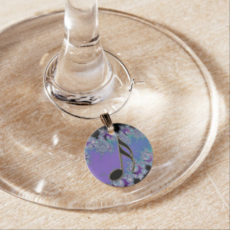 Violet Aqua Fractal Music 16th Note Wine Charm