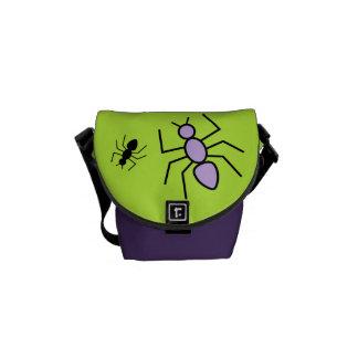 Violet & Black Vector Ants -Grass Green Background Courier Bag