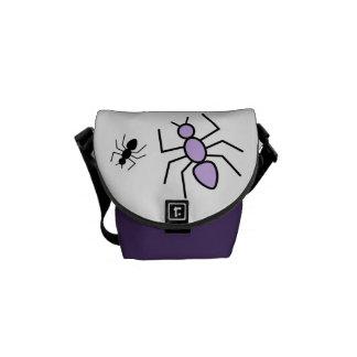 Violet Black Vector Ants Messenger Bag