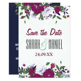 Violet blue elegant floral Save the date wedding Card