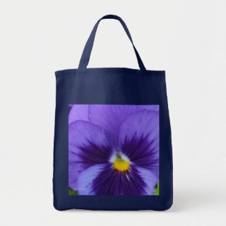 Violet Blue Pansy Grocery Tote Bag