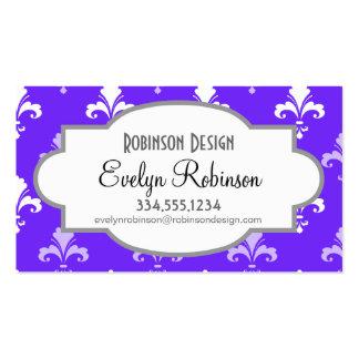 Violet Blue Purple and White Fleur de lis Business Card