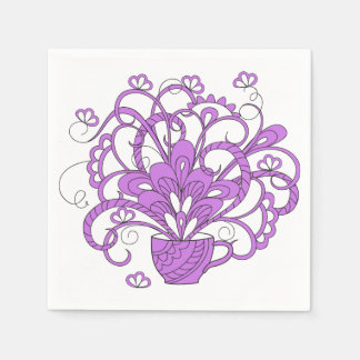 violet bouquet in the cup paper serviettes