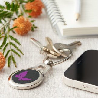 Violet butterfly key ring