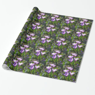 Violet crocuses 02.0, spring greetings wrapping paper