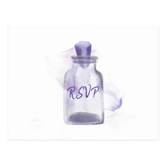 Violet Crystal wedding RSVP  |  purple watercolor Postcard