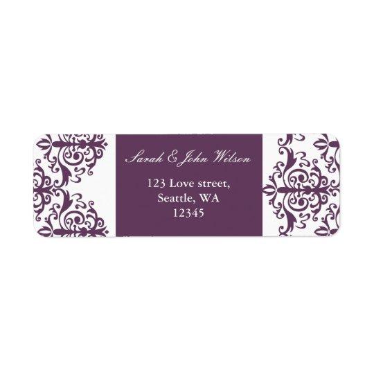 violet damask address lable return address label