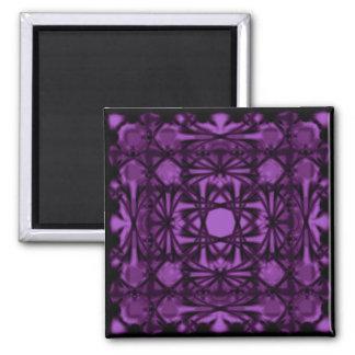Violet Deco Shamrock Square Magnet