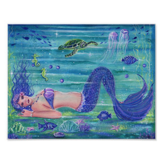 Violet fantasy mermaid poster print  Renee Lavoie