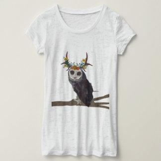 VIOLET FLORAL ANTLER OWL T-Shirt