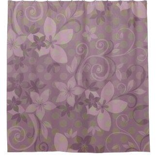Violet Floral Green Polkadot Shower Curtain