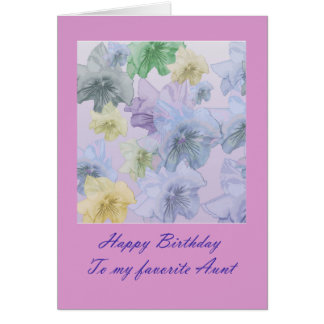 Violet Floral Happy Birthday  Aunt Card