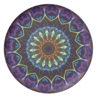 Violet Floral Kaleidoscope Decorative Plate