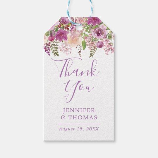 Violet Floral Lavender   Wedding Favour Gift Tags
