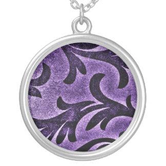 Violet Floral Round Pendant Necklace