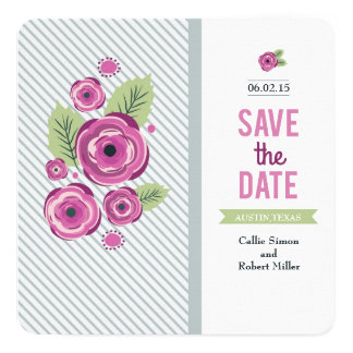 Violet Floral Save the Date Card