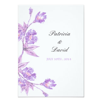 Violet Floral Watercolors Wedding Invitations