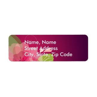 Violet Floral Wedding Address Label