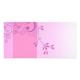 Violet floral wedding gift custom photo card