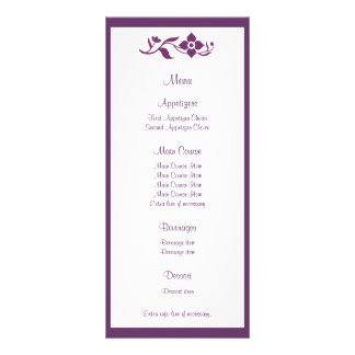 Violet Floral Wedding Menu Rack Card