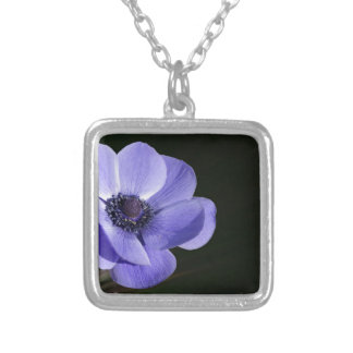 Violet flower silver plated necklace