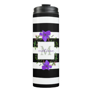 Violet Flowers with Black & White Stripes Monogram Thermal Tumbler