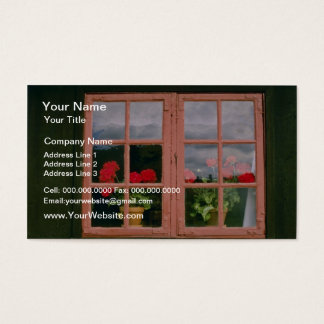Violet Geraniums In The Window Of A Traditional Ho Business Card