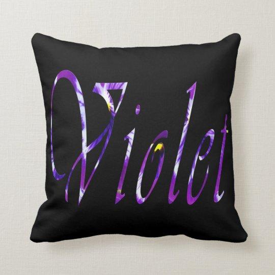 Violet, Girls Name, Logo, Black Throw  Cushion