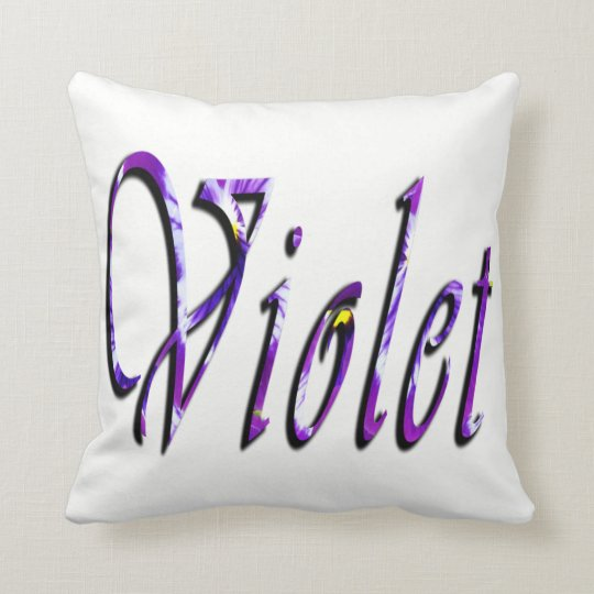 Violet, Girls Name, Logo, White Throw  Cushion