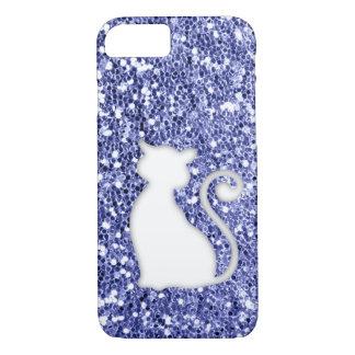 Violet Glitter Look Cat iPhone 8/7 Case