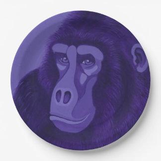 Violet Gorilla Paper Plates 9 Inch Paper Plate