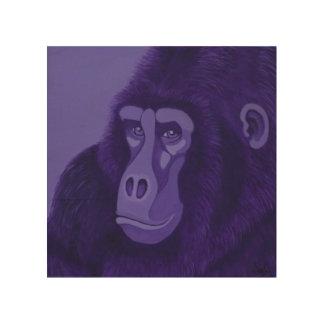 Violet Gorilla Wood Panel Wall Art Wood Print