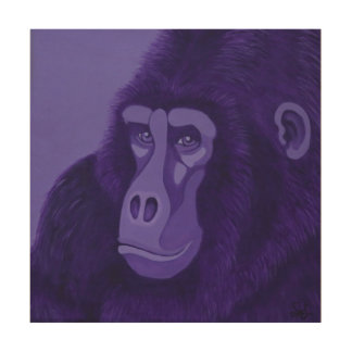 Violet Gorilla Wood Wall Panel