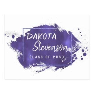 Violet Graduation | Purple Paint Splatter Grad Postcard