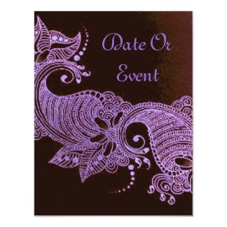 violet henna mehndi floral 11 cm x 14 cm invitation card
