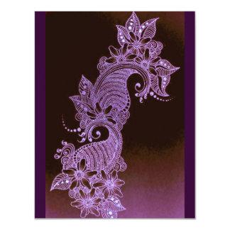 violet henna mehndi floral 2 11 cm x 14 cm invitation card