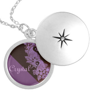 violet henna mehndi floral 2 round locket necklace