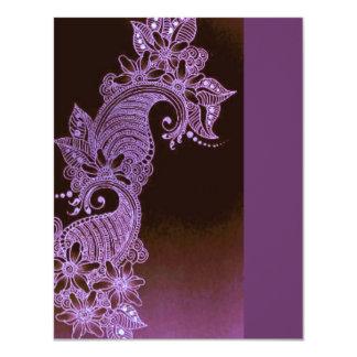 violet henna mehndi floral 3 11 cm x 14 cm invitation card