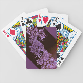 violet henna mehndi floral playing cards