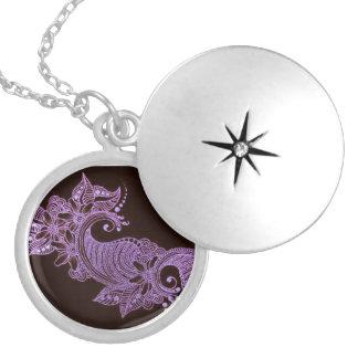 violet henna mehndi floral round locket necklace