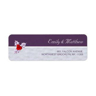 Violet Holly Berries & Leaves Return Address Label