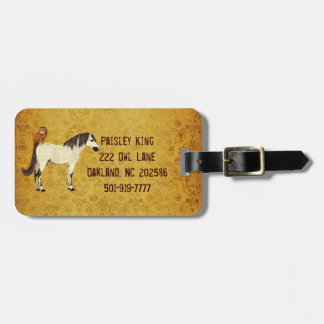Violet Horse Owl Luggage Tag